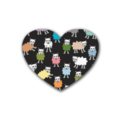 Sheep Cartoon Colorful Black Pink Rubber Coaster (heart)