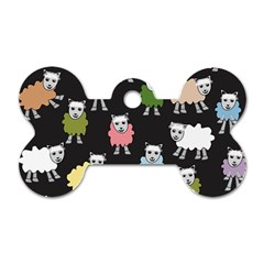Sheep Cartoon Colorful Black Pink Dog Tag Bone (one Side)