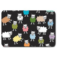 Sheep Cartoon Colorful Black Pink Large Doormat  by BangZart
