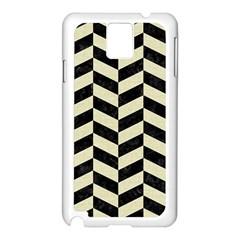 Chevron1 Black Marble & Beige Linen Samsung Galaxy Note 3 N9005 Case (white) by trendistuff