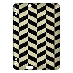 Chevron1 Black Marble & Beige Linen Kindle Fire Hdx Hardshell Case by trendistuff