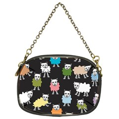 Sheep Cartoon Colorful Black Pink Chain Purses (one Side)
