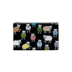 Sheep Cartoon Colorful Black Pink Cosmetic Bag (small)  by BangZart