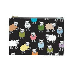 Sheep Cartoon Colorful Black Pink Cosmetic Bag (large)