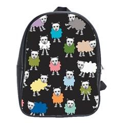 Sheep Cartoon Colorful Black Pink School Bags(large)  by BangZart