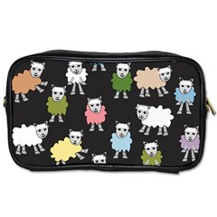 Sheep Cartoon Colorful Black Pink Toiletries Bags