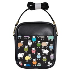 Sheep Cartoon Colorful Black Pink Girls Sling Bags by BangZart