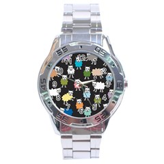 Sheep Cartoon Colorful Black Pink Stainless Steel Analogue Watch