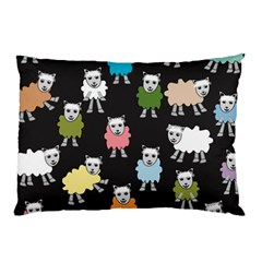 Sheep Cartoon Colorful Black Pink Pillow Case (two Sides) by BangZart