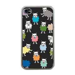 Sheep Cartoon Colorful Black Pink Apple Iphone 4 Case (clear) by BangZart