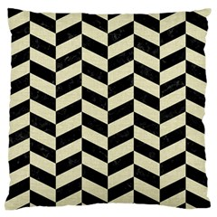 Chevron1 Black Marble & Beige Linen Large Flano Cushion Case (one Side) by trendistuff