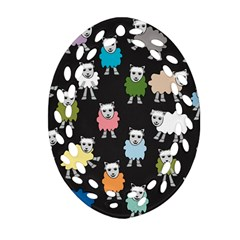 Sheep Cartoon Colorful Black Pink Oval Filigree Ornament (two Sides) by BangZart