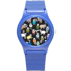 Sheep Cartoon Colorful Black Pink Round Plastic Sport Watch (s) by BangZart