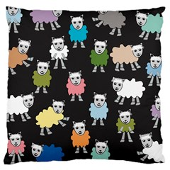 Sheep Cartoon Colorful Black Pink Large Cushion Case (two Sides) by BangZart