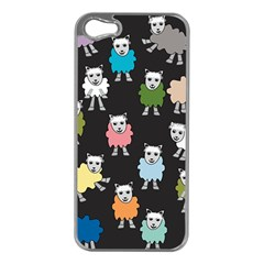 Sheep Cartoon Colorful Black Pink Apple Iphone 5 Case (silver) by BangZart