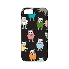 Sheep Cartoon Colorful Black Pink Apple Iphone 5 Classic Hardshell Case (pc+silicone)