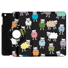 Sheep Cartoon Colorful Black Pink Apple Ipad Mini Flip 360 Case by BangZart