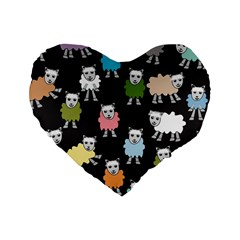 Sheep Cartoon Colorful Black Pink Standard 16  Premium Heart Shape Cushions by BangZart