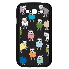 Sheep Cartoon Colorful Black Pink Samsung Galaxy Grand Duos I9082 Case (black)