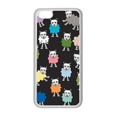 Sheep Cartoon Colorful Black Pink Apple Iphone 5c Seamless Case (white) by BangZart