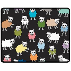 Sheep Cartoon Colorful Black Pink Double Sided Fleece Blanket (medium)  by BangZart