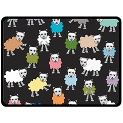 Sheep Cartoon Colorful Black Pink Double Sided Fleece Blanket (large)  by BangZart