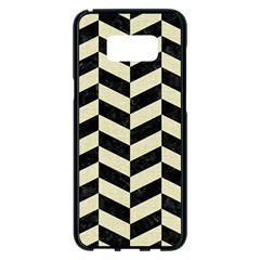 Chevron1 Black Marble & Beige Linen Samsung Galaxy S8 Plus Black Seamless Case by trendistuff