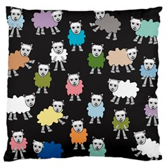Sheep Cartoon Colorful Black Pink Large Flano Cushion Case (two Sides) by BangZart