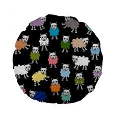 Sheep Cartoon Colorful Black Pink Standard 15  Premium Flano Round Cushions by BangZart
