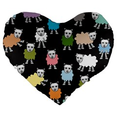 Sheep Cartoon Colorful Black Pink Large 19  Premium Flano Heart Shape Cushions by BangZart