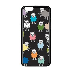 Sheep Cartoon Colorful Black Pink Apple Iphone 6/6s Black Enamel Case by BangZart