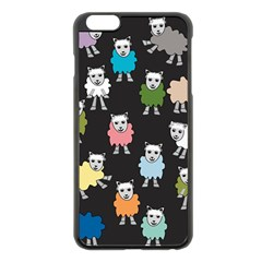 Sheep Cartoon Colorful Black Pink Apple Iphone 6 Plus/6s Plus Black Enamel Case