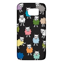 Sheep Cartoon Colorful Black Pink Galaxy S6 by BangZart