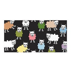 Sheep Cartoon Colorful Black Pink Satin Wrap by BangZart