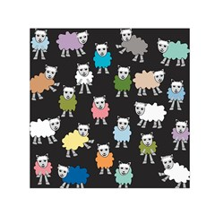 Sheep Cartoon Colorful Black Pink Small Satin Scarf (square) by BangZart