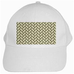 Brick2 Black Marble & Beige Linen (r) White Cap by trendistuff
