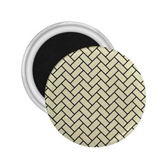 Brick2 Black Marble & Beige Linen (r) 2 25  Magnets by trendistuff