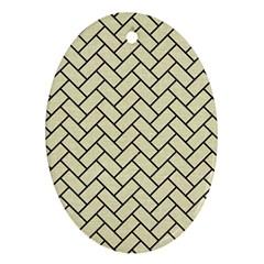 Brick2 Black Marble & Beige Linen (r) Ornament (oval) by trendistuff