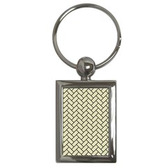 Brick2 Black Marble & Beige Linen (r) Key Chains (rectangle)