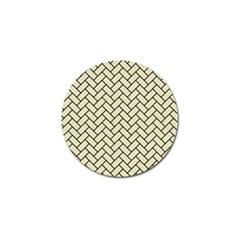 Brick2 Black Marble & Beige Linen (r) Golf Ball Marker by trendistuff