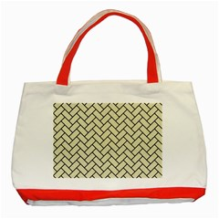 Brick2 Black Marble & Beige Linen (r) Classic Tote Bag (red) by trendistuff