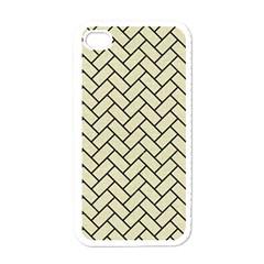 Brick2 Black Marble & Beige Linen (r) Apple Iphone 4 Case (white) by trendistuff