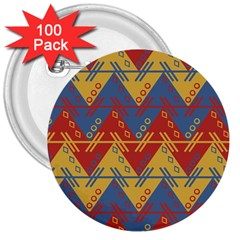 Aztec South American Pattern Zig 3  Buttons (100 Pack)