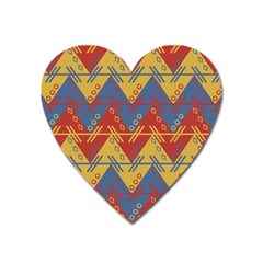 Aztec South American Pattern Zig Heart Magnet by BangZart