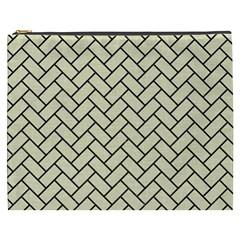 Brick2 Black Marble & Beige Linen (r) Cosmetic Bag (xxxl)  by trendistuff