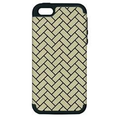 Brick2 Black Marble & Beige Linen (r) Apple Iphone 5 Hardshell Case (pc+silicone) by trendistuff