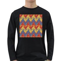 Aztec South American Pattern Zig Long Sleeve Dark T Shirts by BangZart