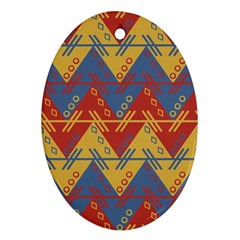 Aztec South American Pattern Zig Oval Ornament (two Sides) by BangZart