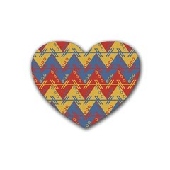 Aztec South American Pattern Zig Rubber Coaster (heart)  by BangZart