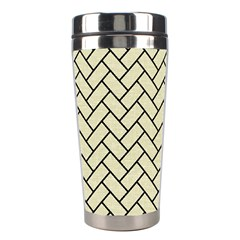 Brick2 Black Marble & Beige Linen (r) Stainless Steel Travel Tumblers by trendistuff
